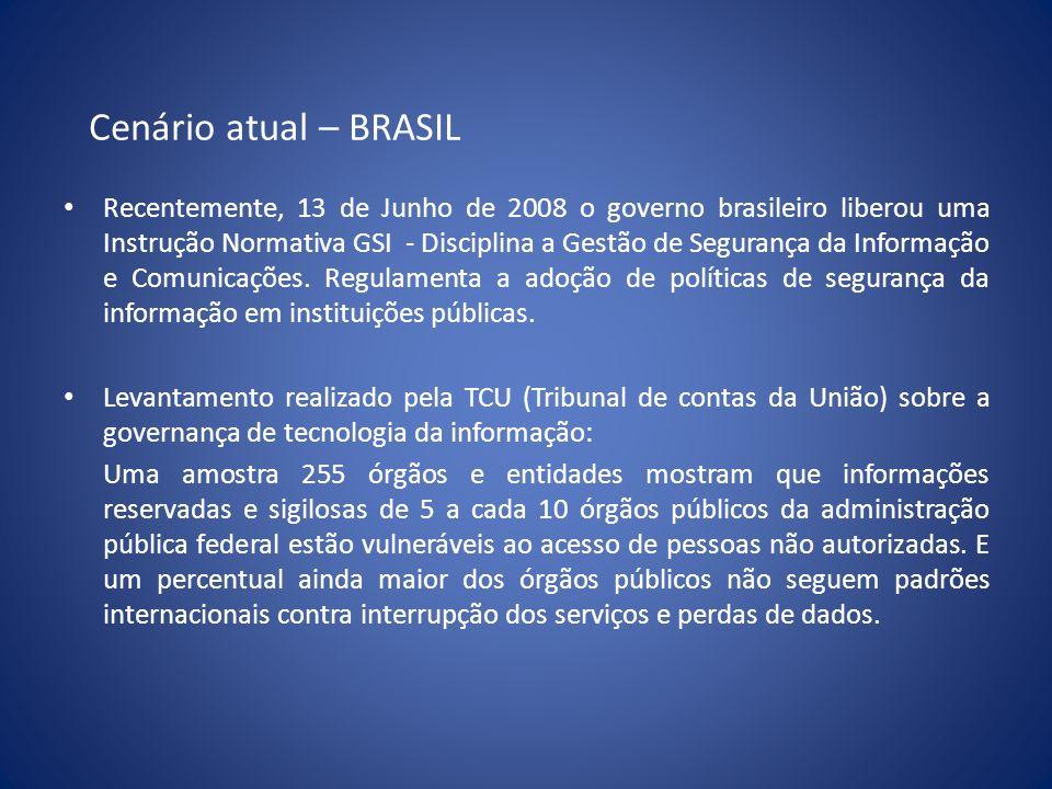 Cenário atual – BRASIL Recentemente, 13 de Junho de 2008 o governo brasileiro liberou uma Instrução Normativa GSI - Disciplina a Gestão de Segurança d