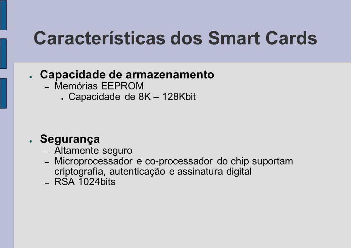 Características dos Smart Cards Capacidade de armazenamento – Memórias EEPROM Capacidade de 8K – 128Kbit Segurança – Altamente seguro – Microprocessad