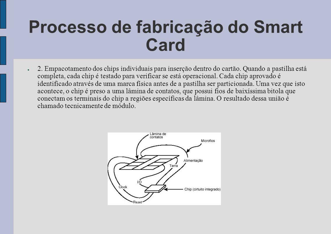 Processo de fabricação do Smart Card 2. Empacotamento dos chips individuais para inserção dentro do cartão. Quando a pastilha está completa, cada chip
