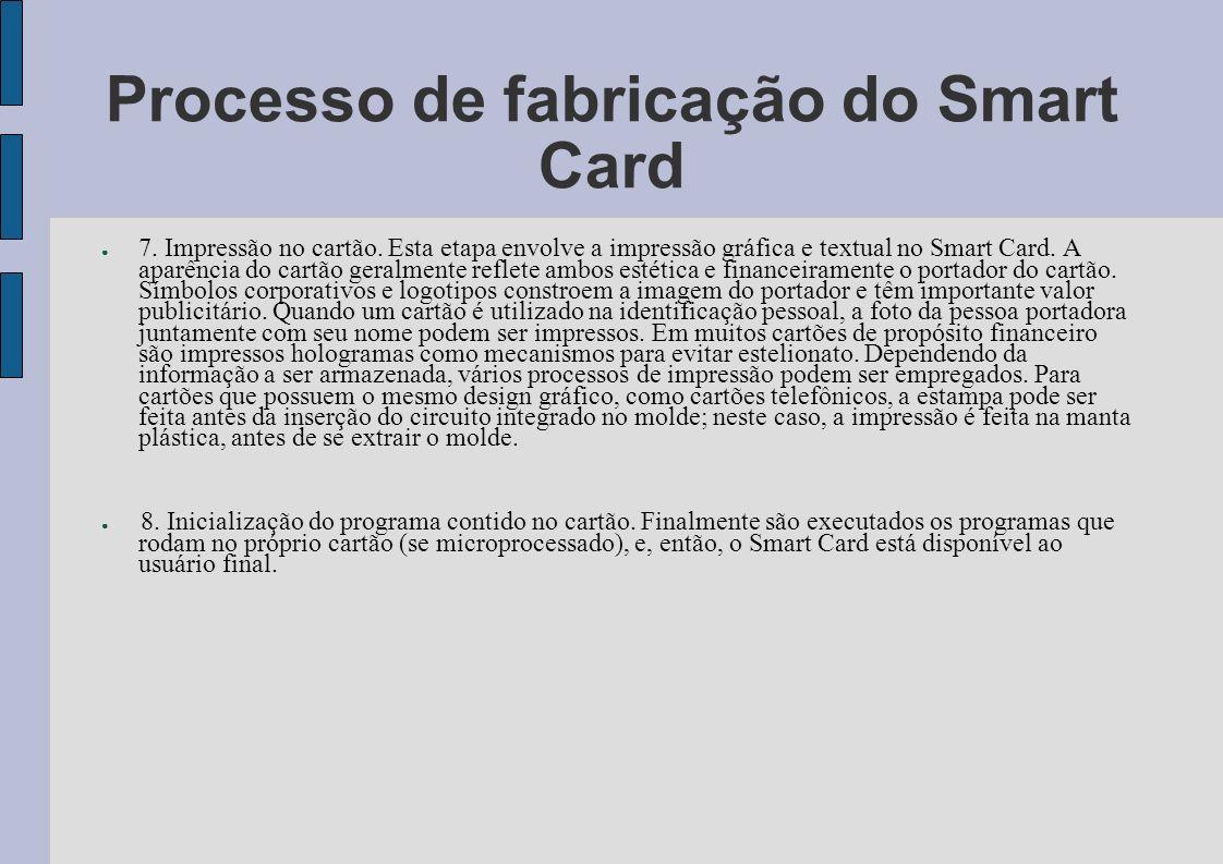 Processo de fabricação do Smart Card 7. Impressão no cartão. Esta etapa envolve a impressão gráfica e textual no Smart Card. A aparência do cartão ger
