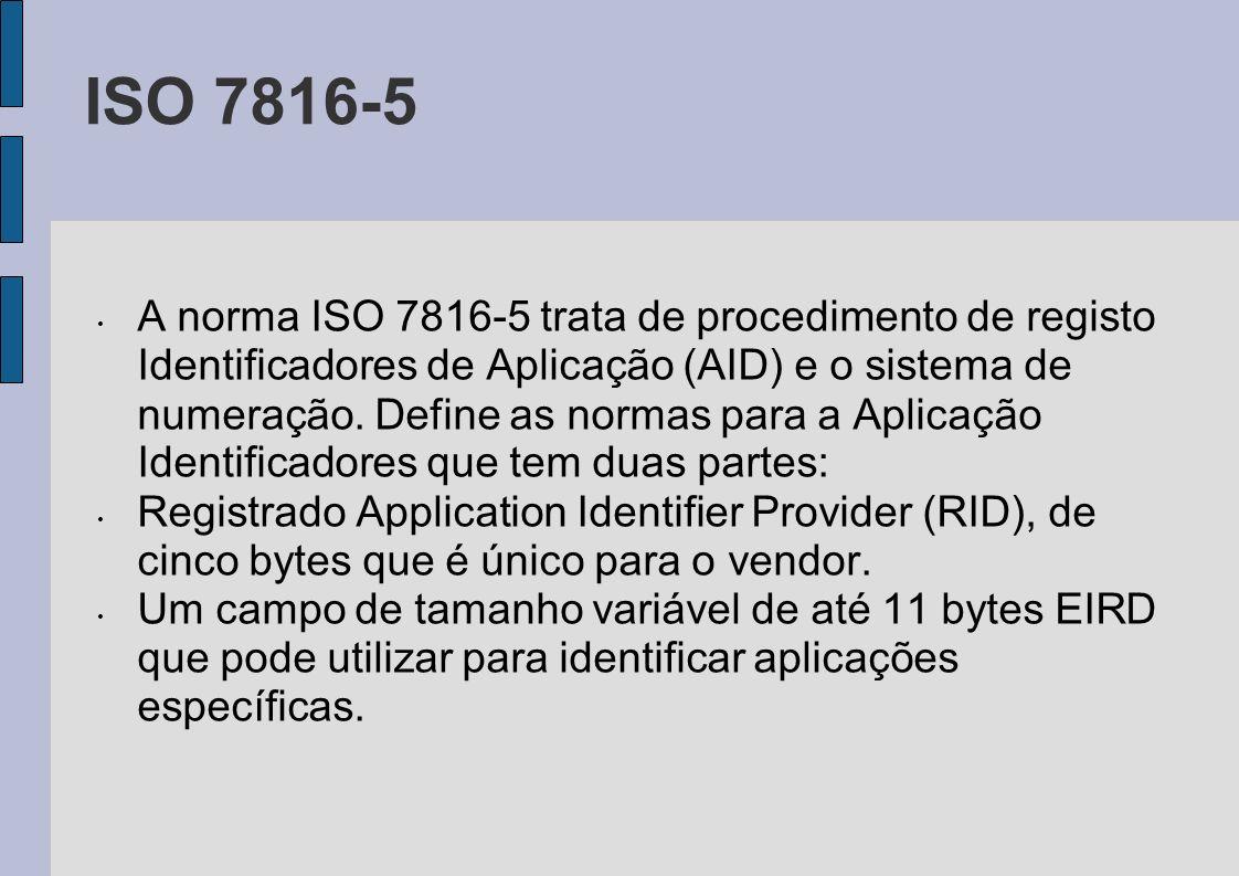 ISO 7816-5 A norma ISO 7816-5 trata de procedimento de registo Identificadores de Aplicação (AID) e o sistema de numeração. Define as normas para a Ap