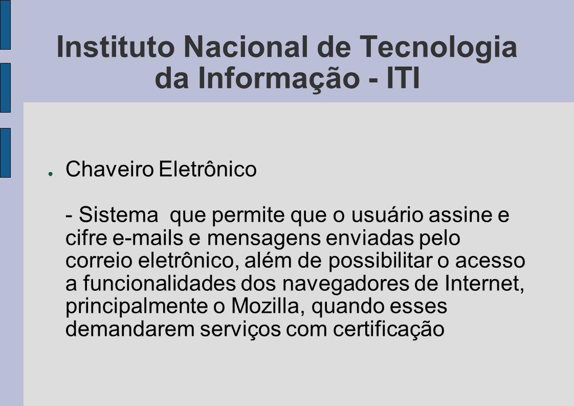 Instituto Nacional de Tecnologia da Informação - ITI Chaveiro Eletrônico - Sistema que permite que o usuário assine e cifre e-mails e mensagens enviad