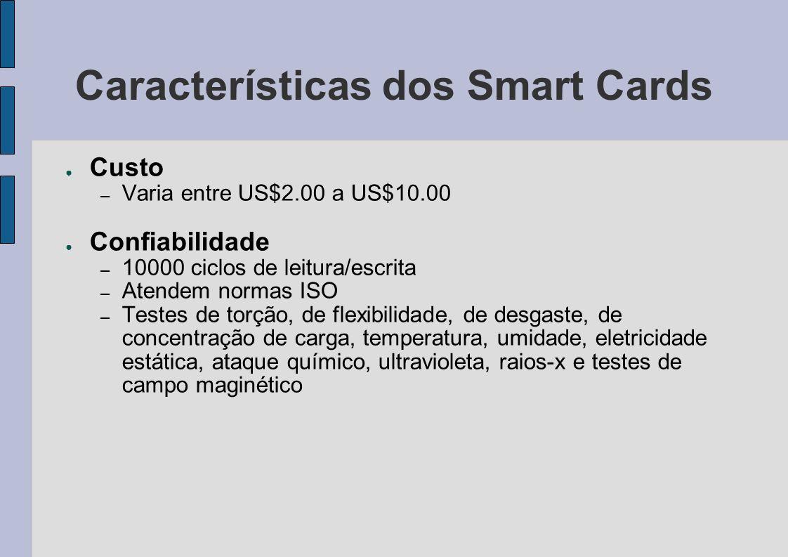 Características dos Smart Cards Custo – Varia entre US$2.00 a US$10.00 Confiabilidade – 10000 ciclos de leitura/escrita – Atendem normas ISO – Testes