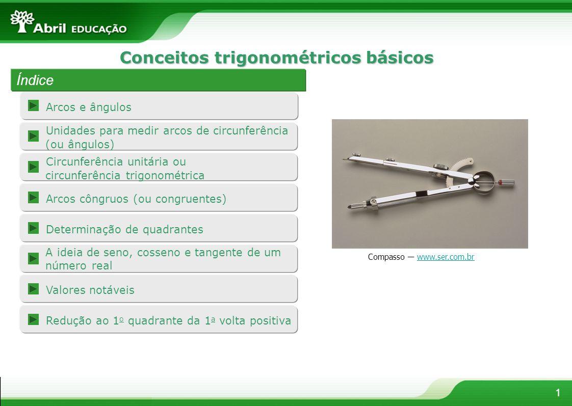 Conceitos trigonométricos básicos Arcos e ângulos 1 Índice Compasso www.ser.com.brwww.ser.com.br Arcos côngruos (ou congruentes) Unidades para medir a