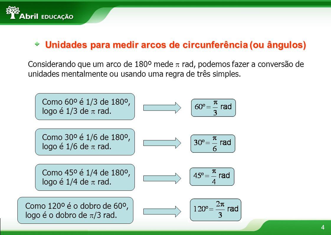 4 Unidades para medir arcos de circunferência (ou ângulos) Considerando que um arco de 180º mede rad, podemos fazer a conversão de unidades mentalment