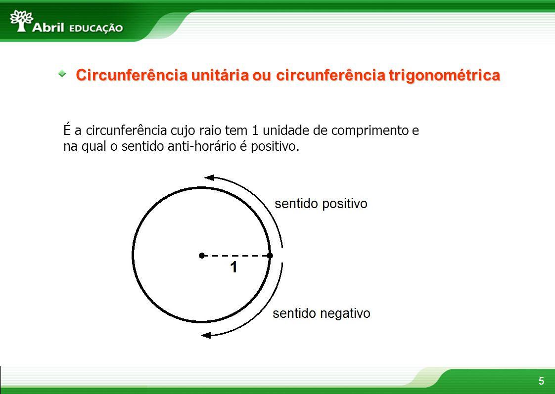 5 Circunferência unitária ou circunferência trigonométrica É a circunferência cujo raio tem 1 unidade de comprimento e na qual o sentido anti-horário