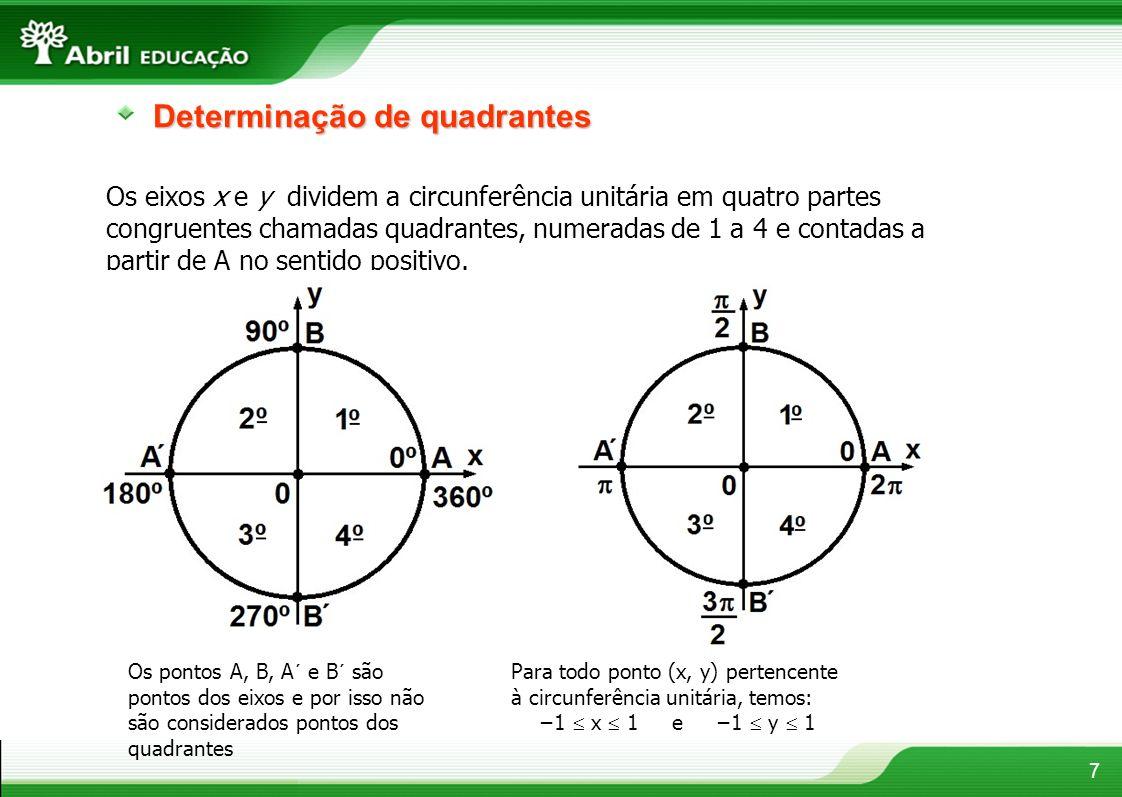 7 Determinação de quadrantes Os eixos x e y dividem a circunferência unitária em quatro partes congruentes chamadas quadrantes, numeradas de 1 a 4 e c