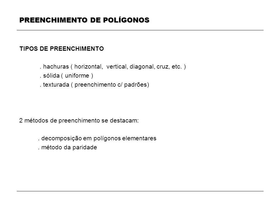 PREENCHIMENTO DE POLÍGONOS TIPOS DE PREENCHIMENTO. hachuras ( horizontal, vertical, diagonal, cruz, etc. ). sólida ( uniforme ). texturada ( preenchim