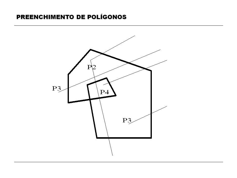 MÉTODO 1 a) Para cada aresta do polígono, determinamos os pontos de intersecção com as linhas horizontais da hachura.