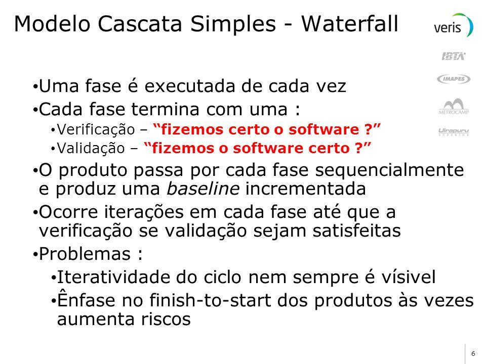 6 Uma fase é executada de cada vez Cada fase termina com uma : Verificação – fizemos certo o software .
