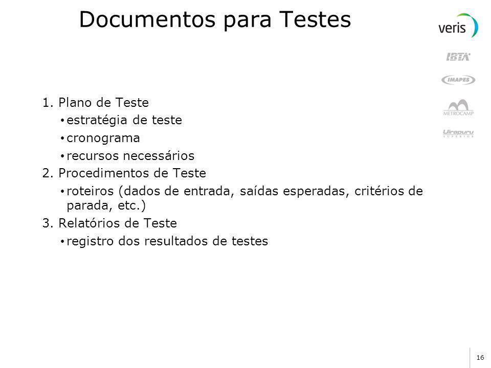 15 Processo de Teste Teste Avaliação confiabi lidade Depuração Avaliação software plano e procedimento de testes resultados esperados resultados erros