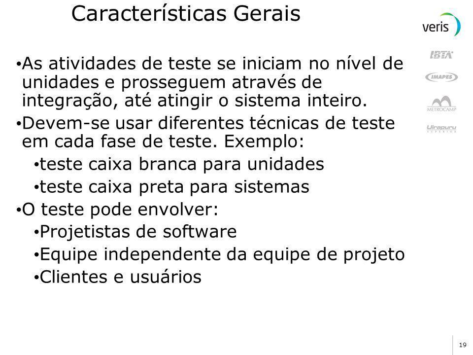 18 Princípios de Teste (Davis) O Princípio de Paretto também se aplica ao teste de software: 80% dos erros não detetados durante o teste são, provavel