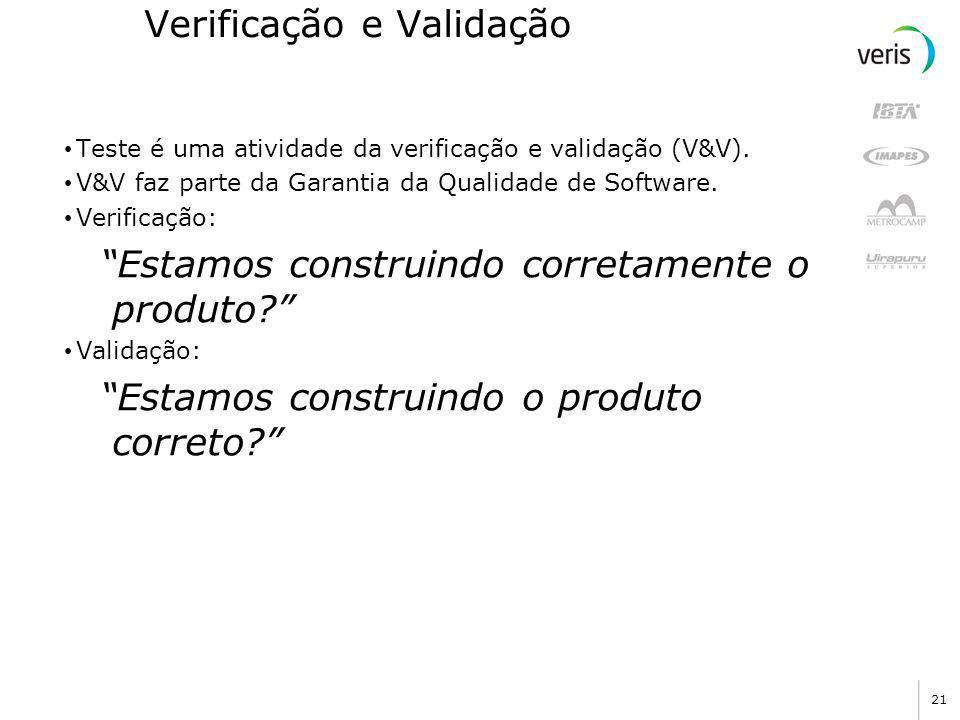 20 Teoria V Fonte: Ribeiro, Ricardo Lopes. Testes de Software Uma Visão para Aplicações Orientadas a Objeto – I. da internet : www.mundooo.com.br