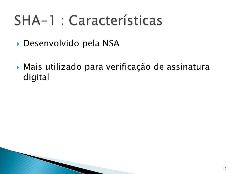Desenvolvido pela NSA Mais utilizado para verificação de assinatura digital 10