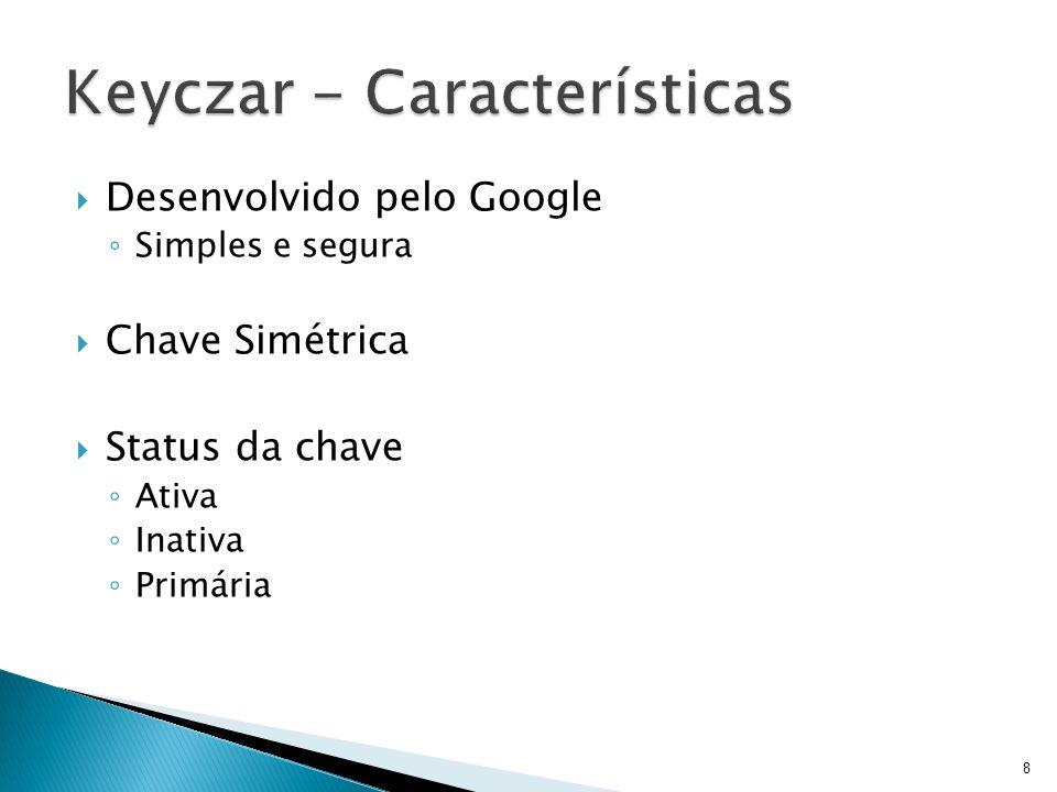 Desenvolvido pelo Google Simples e segura Chave Simétrica Status da chave Ativa Inativa Primária 8