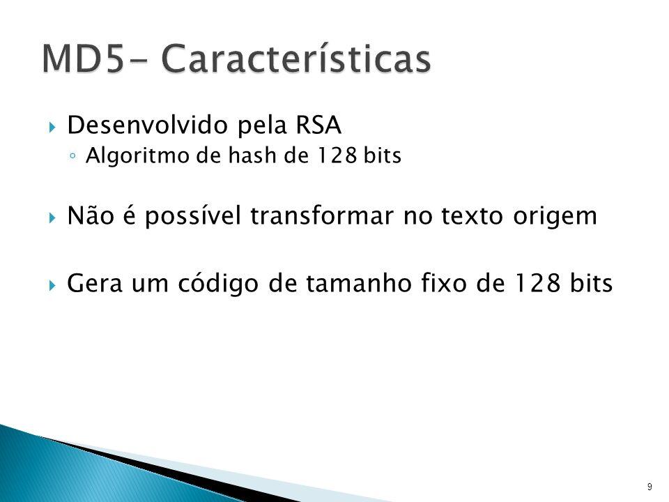 Desenvolvido pela RSA Algoritmo de hash de 128 bits Não é possível transformar no texto origem Gera um código de tamanho fixo de 128 bits 9