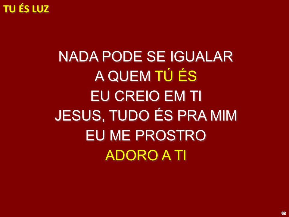 NADA PODE SE IGUALAR A QUEM TÚ ÉS EU CREIO EM TI JESUS, TUDO ÉS PRA MIM EU ME PROSTRO ADORO A TI NADA PODE SE IGUALAR A QUEM TÚ ÉS EU CREIO EM TI JESU