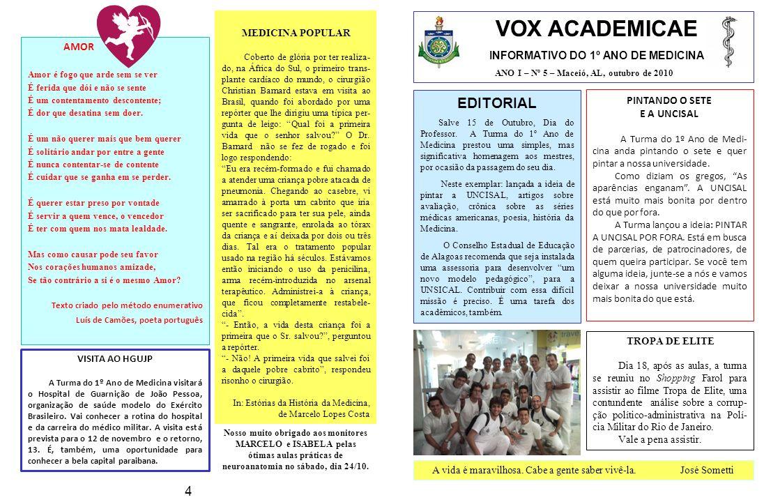 VOX ACADEMICAE INFORMATIVO DO 1º ANO DE MEDICINA ANO I – Nº 5 – Maceió, AL, outubro de 2010 EDITORIAL Salve 15 de Outubro, Dia do Professor.