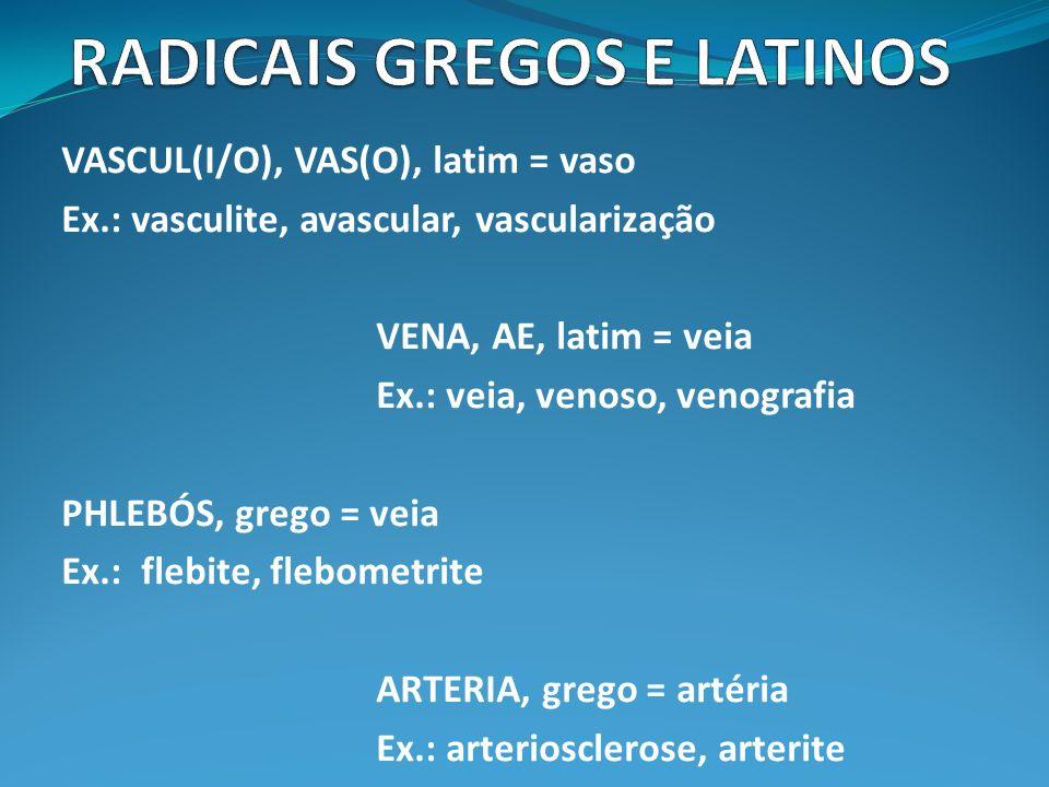ÓTICO X ÓPTICO OTIKOS, grego = referente à orelha OPTIKOS, grego = referente à vista RHINOS, grego (rino, rine) = nariz NASUS, latim (naso) = nariz Ex.: rinite, nasogástrico, nasolabial, rinefraxia