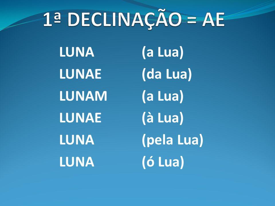 LUNA (a Lua) LUNAE(da Lua) LUNAM(a Lua) LUNAE(à Lua) LUNA(pela Lua) LUNA(ó Lua)