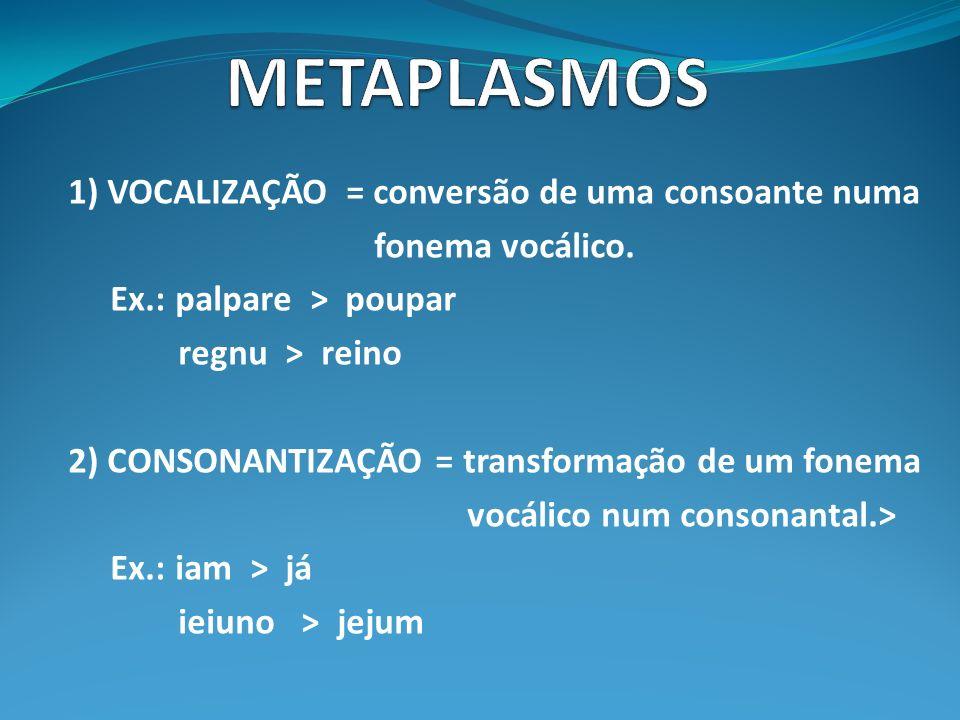 1) VOCALIZAÇÃO = conversão de uma consoante numa fonema vocálico. Ex.: palpare > poupar regnu > reino 2) CONSONANTIZAÇÃO = transformação de um fonema