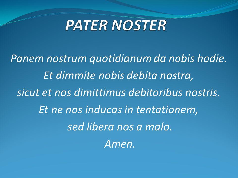 Panem nostrum quotidianum da nobis hodie. Et dimmite nobis debita nostra, sicut et nos dimittimus debitoribus nostris. Et ne nos inducas in tentatione