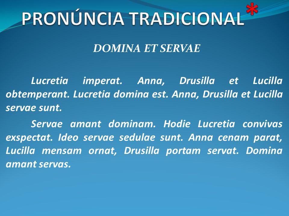 DOMINA ET SERVAE Lucretia imperat. Anna, Drusilla et Lucilla obtemperant. Lucretia domina est. Anna, Drusilla et Lucilla servae sunt. Servae amant dom