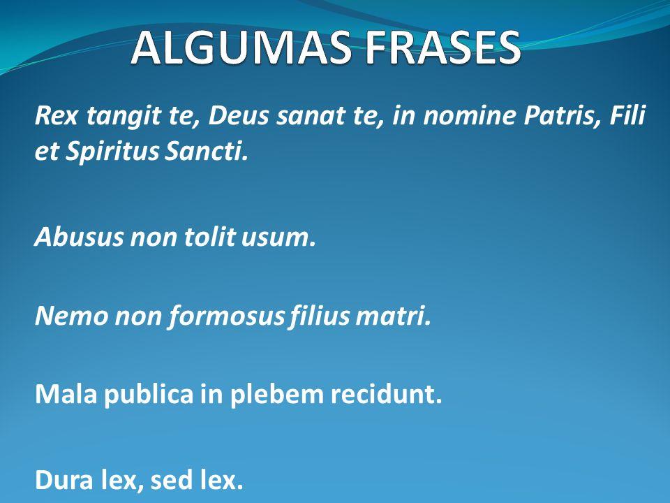 Rex tangit te, Deus sanat te, in nomine Patris, Fili et Spiritus Sancti. Abusus non tolit usum. Nemo non formosus filius matri. Mala publica in plebem