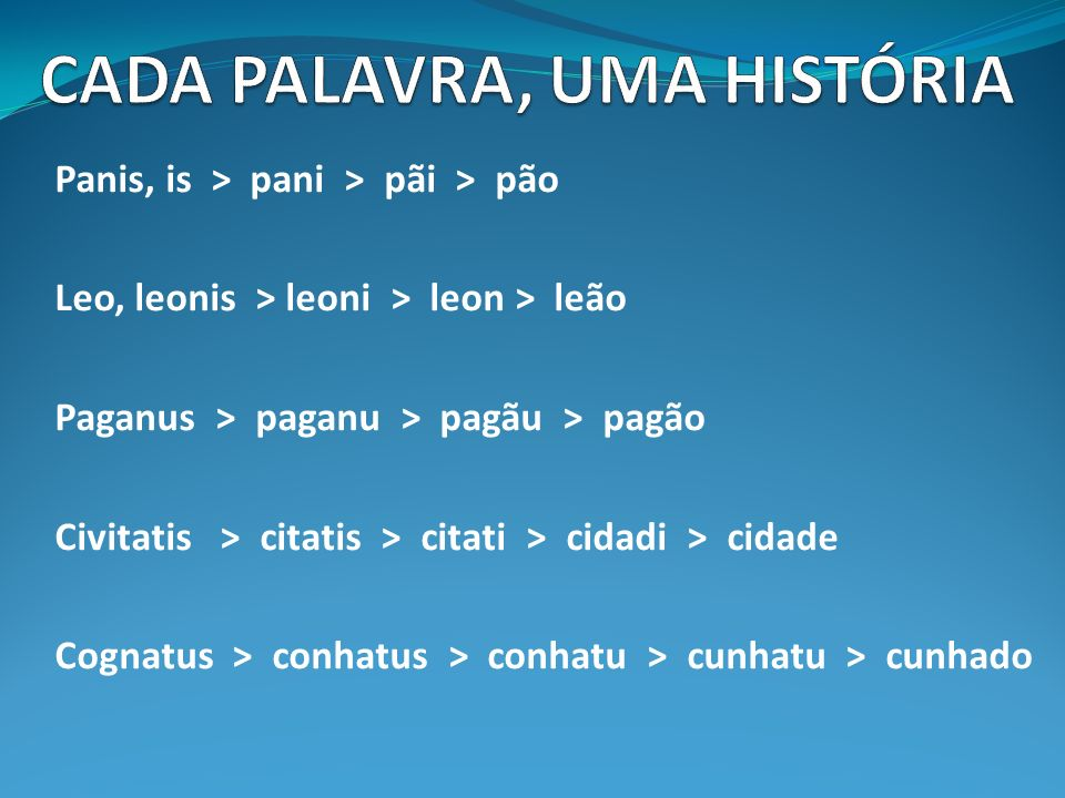 Panis, is > pani > pãi > pão Leo, leonis > leoni > leon > leão Paganus > paganu > pagãu > pagão Civitatis > citatis > citati > cidadi > cidade Cognatus > conhatus > conhatu > cunhatu > cunhado