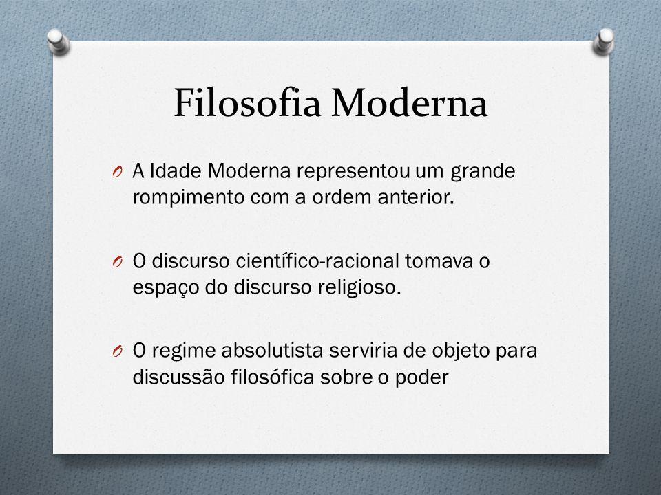 Filosofia Moderna O A Idade Moderna representou um grande rompimento com a ordem anterior. O O discurso científico-racional tomava o espaço do discurs