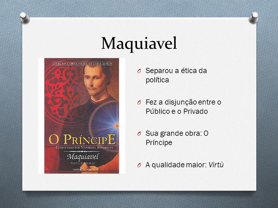 Maquiavel O Separou a ética da política O Fez a disjunção entre o Público e o Privado O Sua grande obra: O Príncipe O A qualidade maior: Virtù