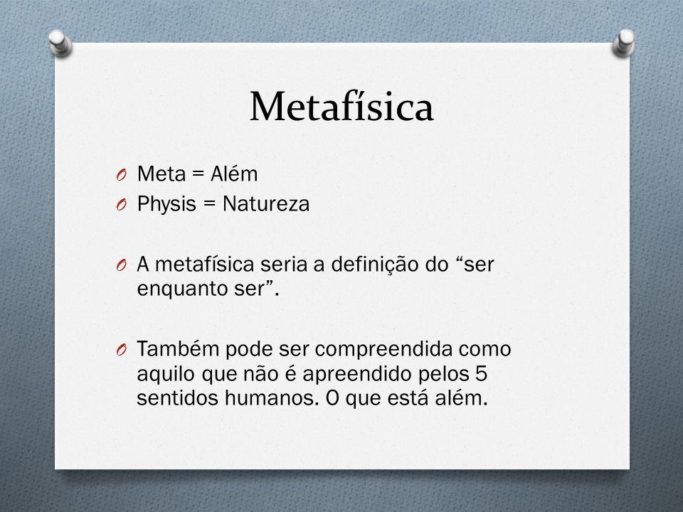 Metafísica O Meta = Além O Physis = Natureza O A metafísica seria a definição do ser enquanto ser. O Também pode ser compreendida como aquilo que não