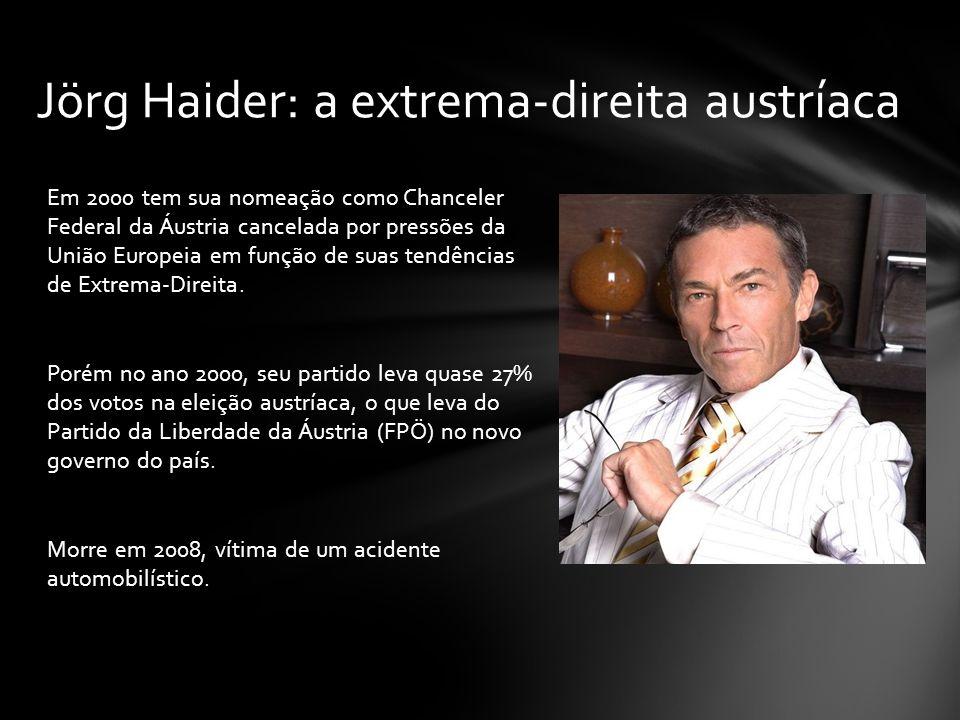 Em 2000 tem sua nomeação como Chanceler Federal da Áustria cancelada por pressões da União Europeia em função de suas tendências de Extrema-Direita. P