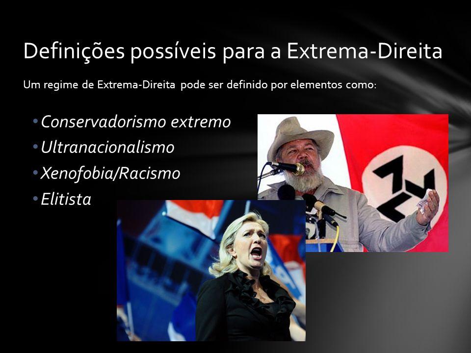 Um regime de Extrema-Direita pode ser definido por elementos como: Conservadorismo extremo Ultranacionalismo Xenofobia/Racismo Elitista Definições pos