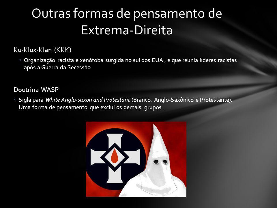 Ku-Klux-Klan (KKK) Organização racista e xenófoba surgida no sul dos EUA, e que reunia líderes racistas após a Guerra da Secessão Doutrina WASP Sigla