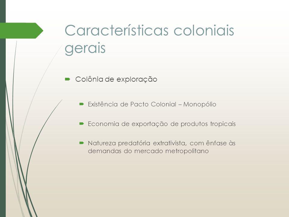 Características coloniais gerais Colônia de exploração Existência de Pacto Colonial – Monopólio Economia de exportação de produtos tropicais Natureza