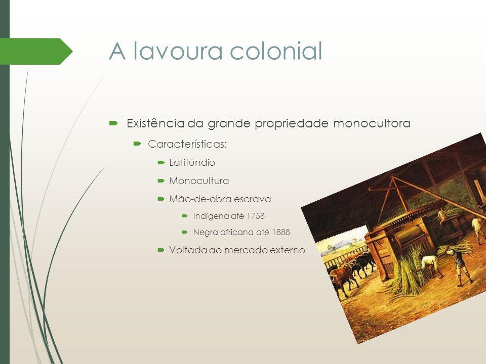 A lavoura colonial Existência da grande propriedade monocultora Características: Latifúndio Monocultura Mão-de-obra escrava Indígena até 1758 Negra af