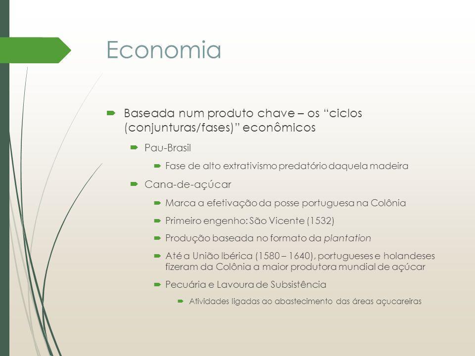 Economia Baseada num produto chave – os ciclos (conjunturas/fases) econômicos Pau-Brasil Fase de alto extrativismo predatório daquela madeira Cana-de-