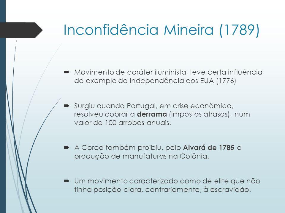 Inconfidência Mineira (1789) Movimento de caráter iluminista, teve certa influência do exemplo da Independência dos EUA (1776) Surgiu quando Portugal,