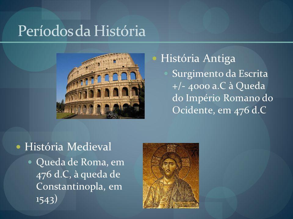 Períodos da História História Antiga Surgimento da Escrita +/- 4000 a.C à Queda do Império Romano do Ocidente, em 476 d.C História Medieval Queda de R