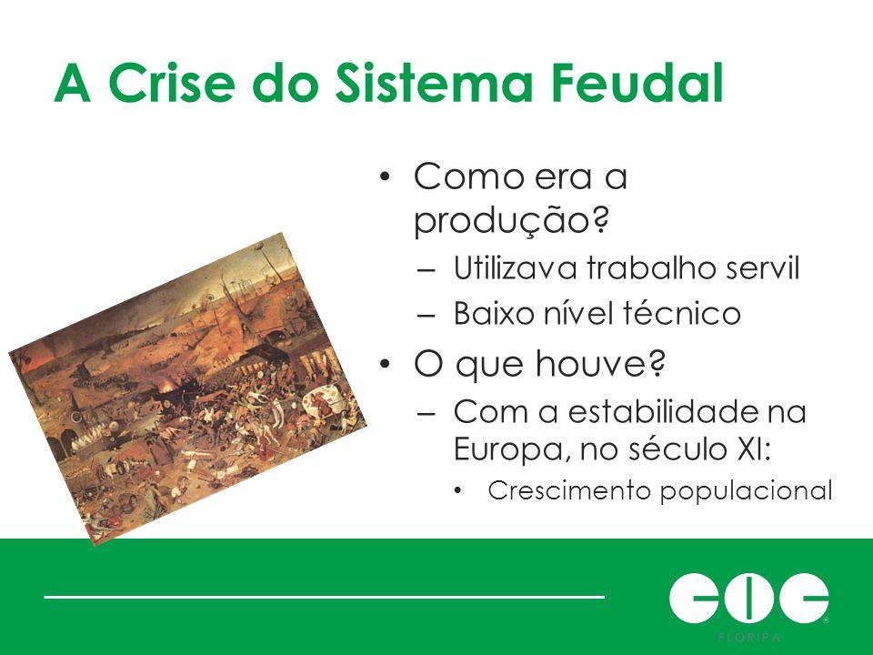 A Crise do Sistema Feudal Como era a produção? – Utilizava trabalho servil – Baixo nível técnico O que houve? – Com a estabilidade na Europa, no sécul