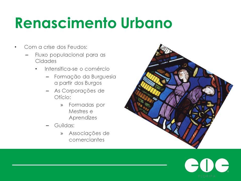 Renascimento Urbano Com a crise dos Feudos: – Fluxo populacional para as Cidades Intensifica-se o comércio – Formação da Burguesia a partir dos Burgos