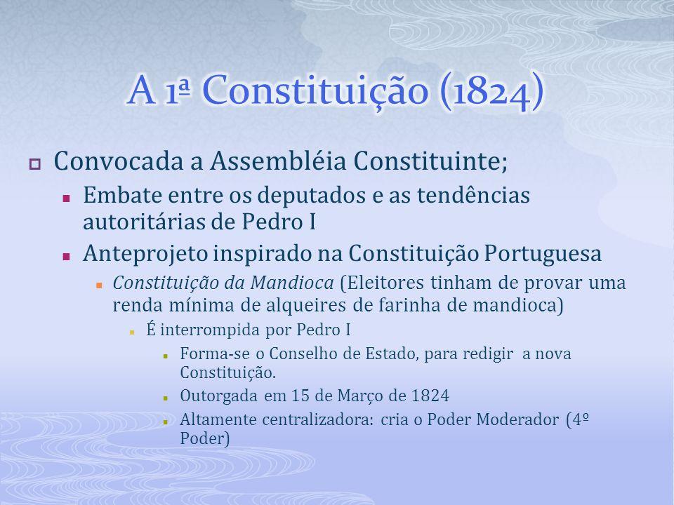 Convocada a Assembléia Constituinte; Embate entre os deputados e as tendências autoritárias de Pedro I Anteprojeto inspirado na Constituição Portugues