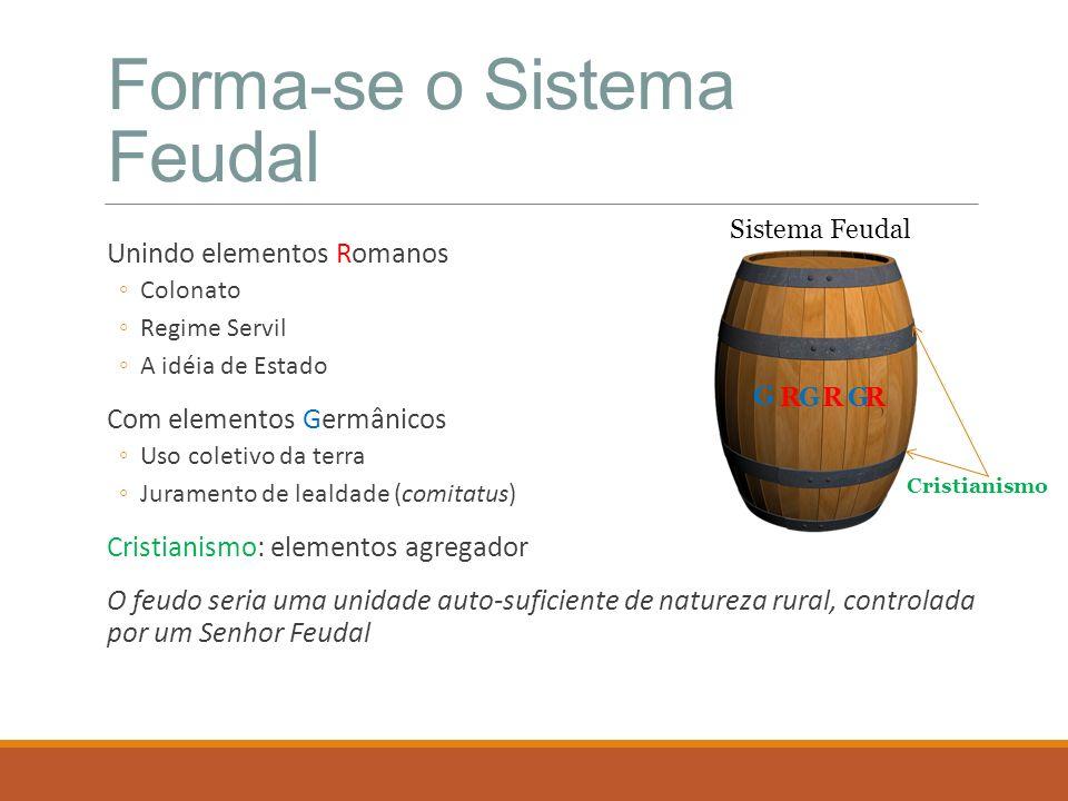 Forma-se o Sistema Feudal Unindo elementos Romanos Colonato Regime Servil A idéia de Estado Com elementos Germânicos Uso coletivo da terra Juramento d