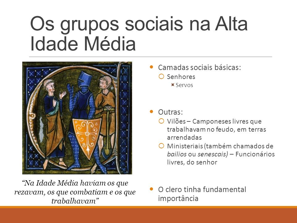Os grupos sociais na Alta Idade Média Camadas sociais básicas: Senhores Servos Outras: Vilões – Camponeses livres que trabalhavam no feudo, em terras