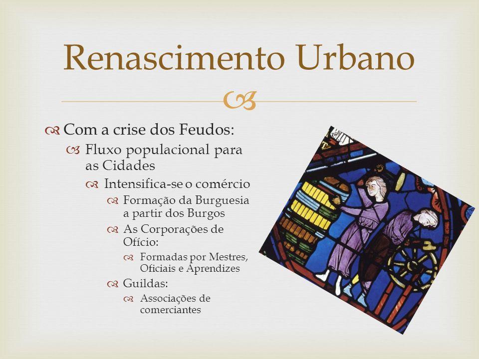 Com a crise dos Feudos: Fluxo populacional para as Cidades Intensifica-se o comércio Formação da Burguesia a partir dos Burgos As Corporações de Ofíci