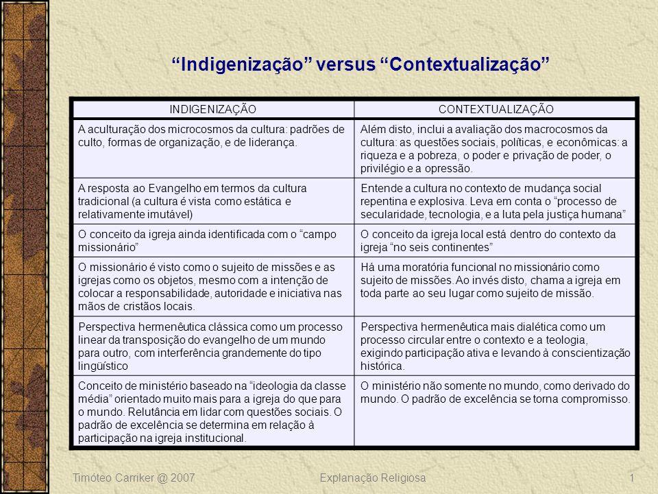 Timóteo Carriker @ 2007Explanação Religiosa1 Indigenização versus Contextualização INDIGENIZAÇÃOCONTEXTUALIZAÇÃO A aculturação dos microcosmos da cultura: padrões de culto, formas de organização, e de liderança.