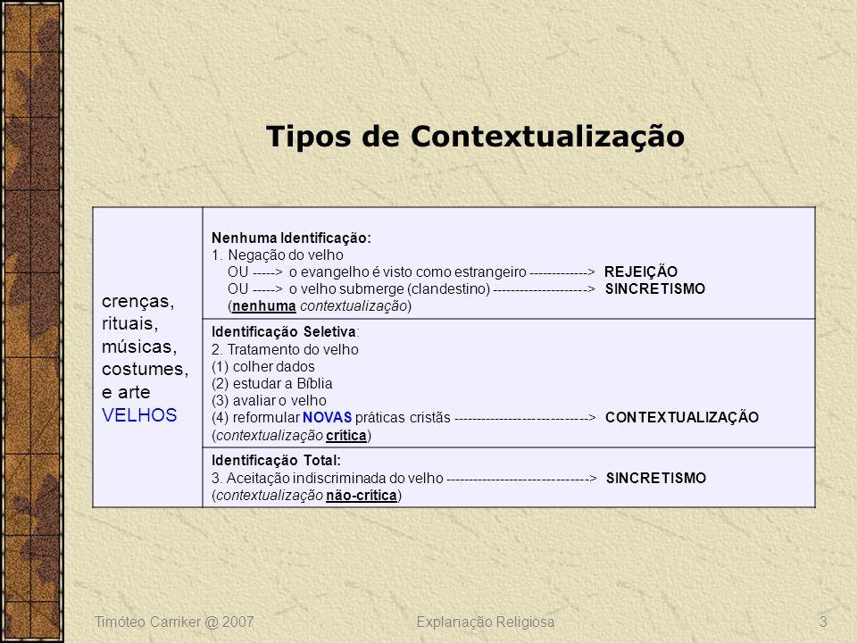 Timóteo Carriker @ 2007Explanação Religiosa3 Tipos de Contextualização crenças, rituais, músicas, costumes, e arte VELHOS Nenhuma Identificação: 1. Ne