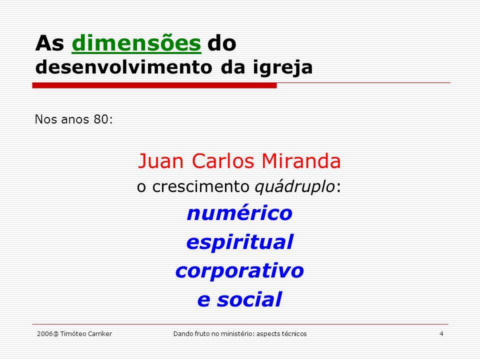 2006@ Timóteo CarrikerDando fruto no ministério: aspects técnicos15 Os ministérios de edificação Crescimento (auxano) Onde.