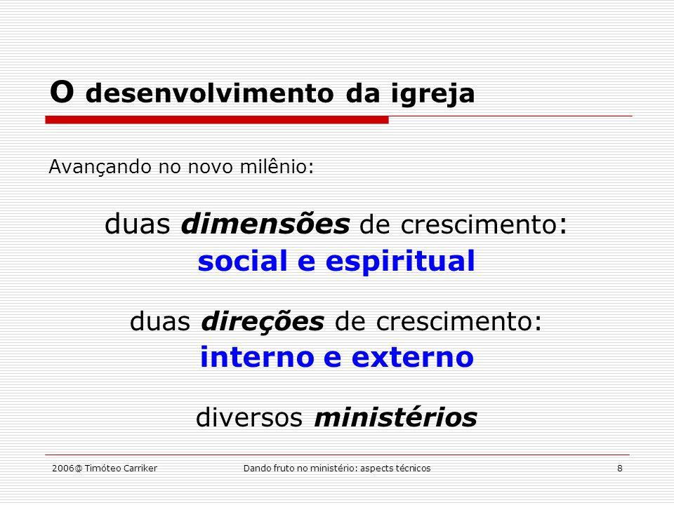2006@ Timóteo CarrikerDando fruto no ministério: aspects técnicos8 O desenvolvimento da igreja Avançando no novo milênio: duas dimensões de crescimento : social e espiritual duas direções de crescimento: interno e externo diversos ministérios